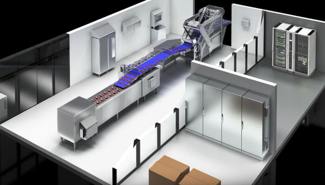 Cartoon image of a conveyer in food and beverage production
